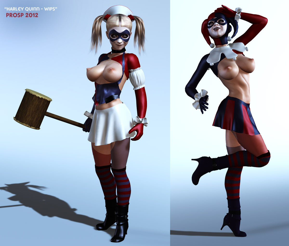 Couple of WIPs of Harley Quinn